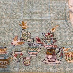 New w/o tags Anthropologie dish towel bird teacup